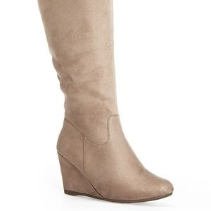 Over the Knee Extended Calf Wedge Boots - 8W